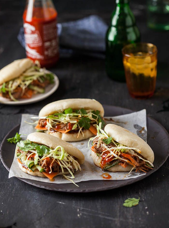gua bao steamed buns with hoisin and ginger pulled pork