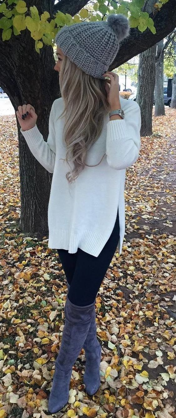 White tunic top, black tights + taupe OTK Boots & gray beanie