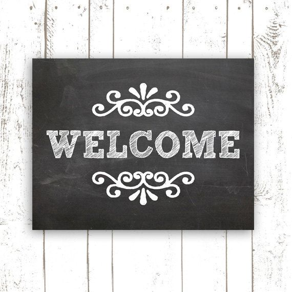 Chalkboard Art Print - 11x14 Inch Printable Welcome Sign - Instant Download Welcome Chalkboard Home Decor