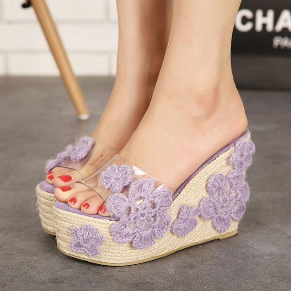 Platform Wedges diamant clip Toe Chaussons Faites glisser pour les femmes de cristal Chaussures brcBoQlBn