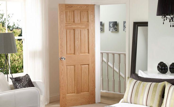 Oak Six Panel Interior Door For Bedroom | Home Doors Design Inspiration    DoorsMagz.com