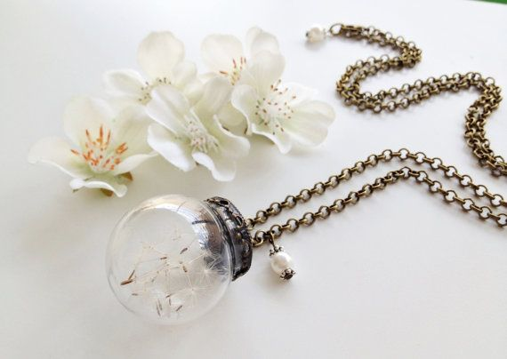 Dandelion Pendant, Dandelion Wish Jewelry, Make a Wish, Real Flower,Botanical Jewlery, Whimsical Bridal Jewelry,Dandelion Jewelry