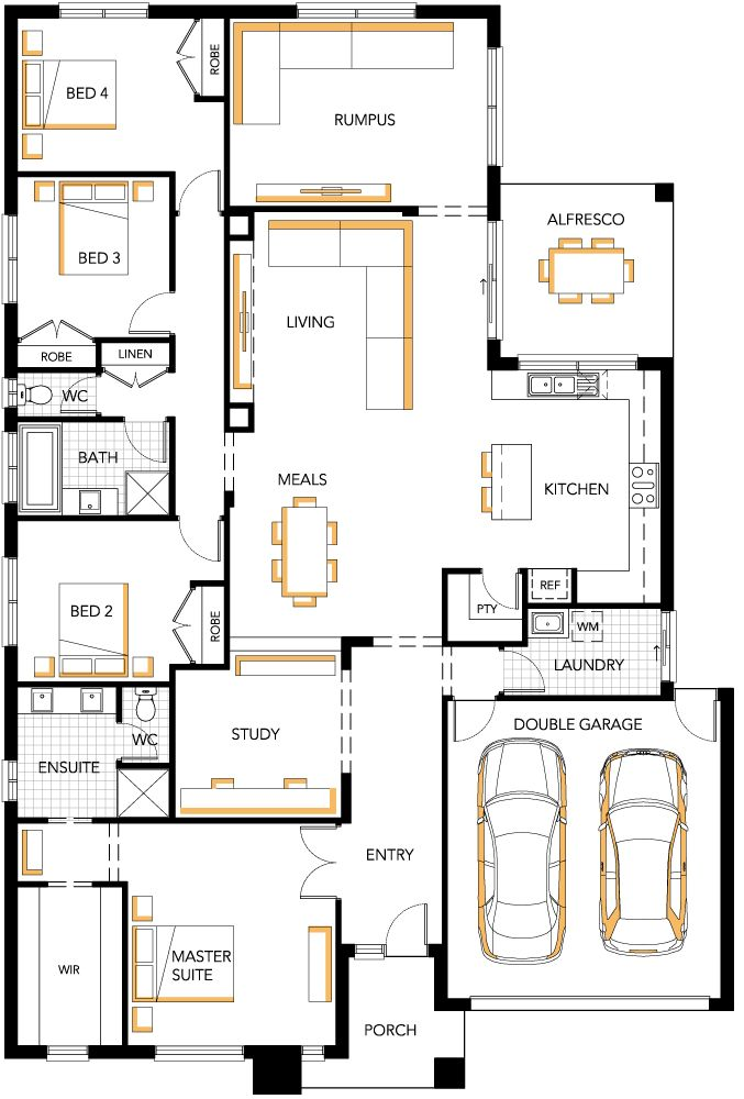 Dakota 30 Carlisle Homes: With just a few tweaks, this would work. (Additional garage/workshop area and a whirlpool tub in the master bath)