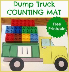 Cute dump truck counting mat with cards 1-20. Have students flip over a card and fill the truck with that many of a number. OR for an added challenged, have kids roll 2 dice, put those numbers on both wheels, and the total in the truck bed. Lots of other cute printables on this same site (Hot chocolate counting, Ice cream counting, bugs counting, etc.)