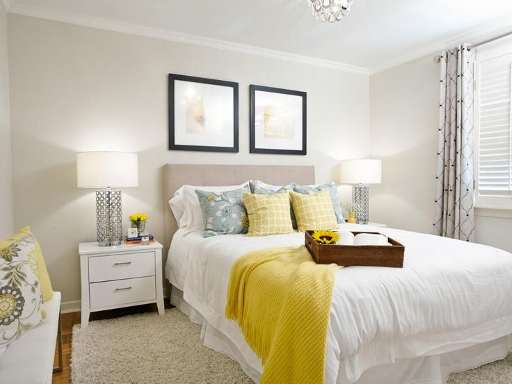 Attractive use of white bedding, linens, with accent colour. Notice layers with bedskirt, duvet. Property Brothers.