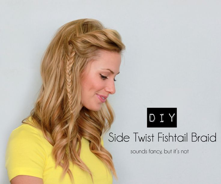 Get your bangs out of your face with this side twist fishtail braid