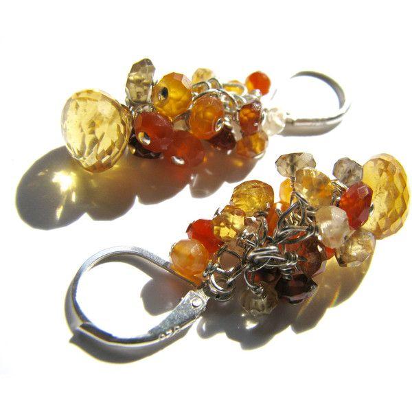 Golden Citrine Earrings, Orange Carnelian, Red Zircon, Brown Garnet,... ($46) ❤ liked on Polyvore featuring jewelry, earrings, zircon earrings, sterling silver earrings, sterling silver garnet earrings, garnet jewelry and citrine earrings