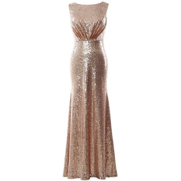 MACloth Women Sheath Sequin Long Formal Evening Gown Wedding... ($69) ❤ liked on Polyvore featuring dresses, brown formal dresses, sequined dresses, rose gold dress, sheath dresses and brown bridesmaid dresses
