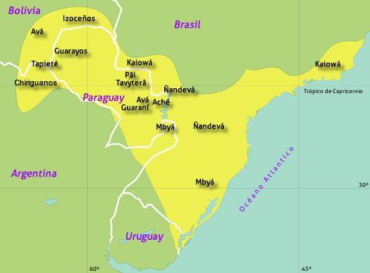 """https://www.pinterest.com/avenidaazul  Guaraníes, también fueron conocidos como Chiripá, Kainguá, Monteses, Apyteré, Tembekuá o Mbyá. Ellos se autodenominan Avá (""""persona"""" en guaraní). - Hábitat: Una extensa región del litoral que se extendía entre el río Tieté (Brasil) al norte, llegando hasta territorios hoy uruguayos; penetrando hacia el interior a través de las cuencas de los ríos Paraguay, Paraná y Uruguay, ocupando territorios paraguayos, el sureste boliviano y el norte argentino."""