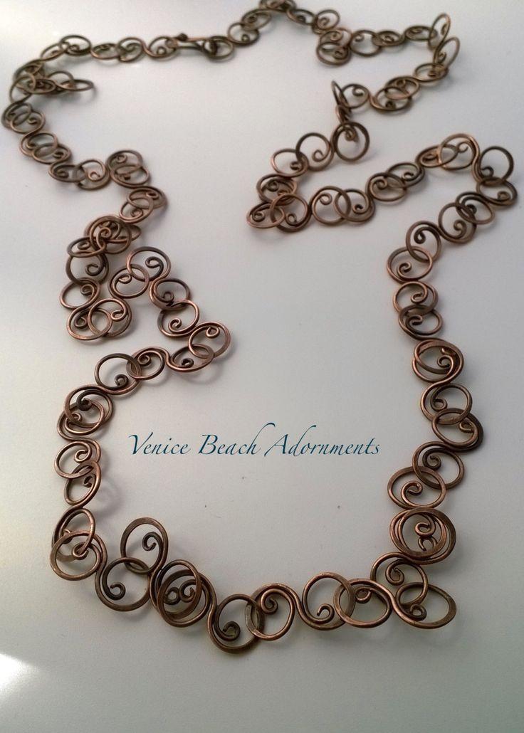 Copper Chain With Curly Links. Chain LinksWire WorkHandmade CopperHandmade  JewelryJewelry DesignWire NecklaceNecklace IdeasWire ...