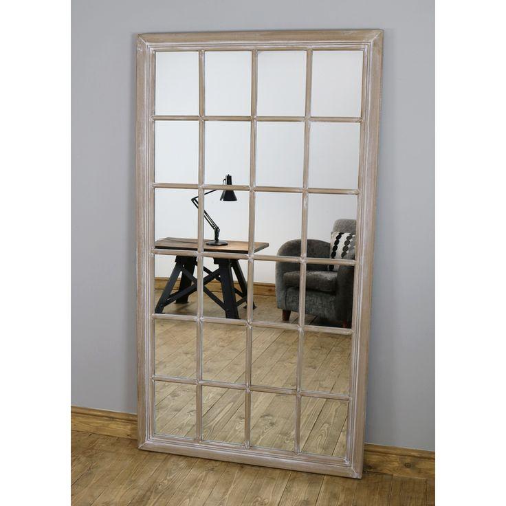 "Sasha - Oak Shabby Chic Full Length Window Mirror 72"" x 40 ..."