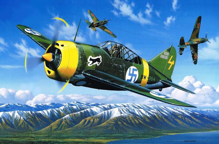 Brewster B-239 (Buffalo F2A-1) of the Finnish Air Force fighting against Soviet P-40s, by Stan Stokes