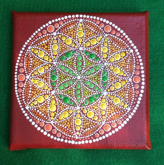 """Original Dot Art Painting - Mandala - Australian Dusk - Free Postage in Australia Only 4""""x 4"""" Square Canvas stretched over wood frame."""