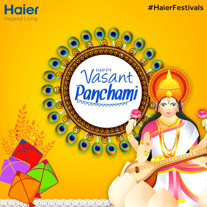 May the occasion of #VasantPanchami bring the wealth of knowledge to you and may you be blessed by Goddess Saraswati and all your wishes come true. Haier celebrates the arrival of spring and pray for health and happiness of all.