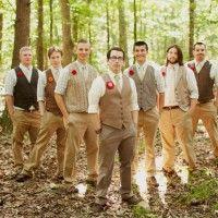 Men in Vests wedding brown groomsmen vests. Casual Mens Wedding attire.