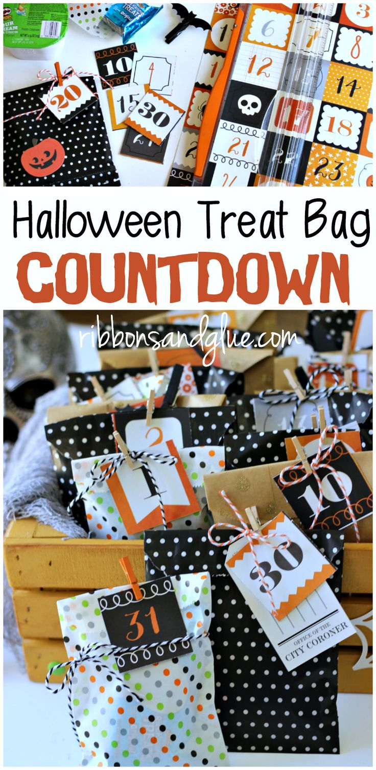 Countdown the excitement of Halloween by making a Halloween Treat Bag Countdown filled up with lunch box sized treats. @kroger @kelloggs #ad  #SnackItAndPack  #SeasonalSolutions
