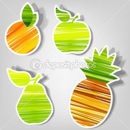 Набор векторных наклейки. свежие фрукты — Stock Illustration #7968514