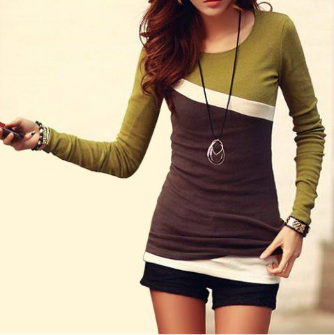 Stylish Scoop Neck Color Block Long Sleeve Women's T-Shirt