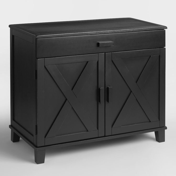 Crafted of rubberwood with an antique black finish, our hardwood storage console blends Italian countryside style with modern home office convenience. Cabinet doors open to reveal supply and file folder drawers on the right and a customizable shelf on the left. Plus, a dropdown tray with a cord management system accommodates a full-size keyboard when using the desk as a computer workstation.