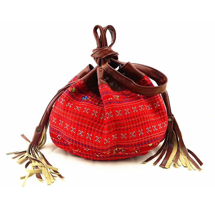 Yunnan National original embroidered Bags old hmong cross-stitch brown Leather…