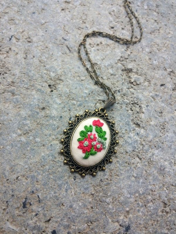 Hippie necklace Embroidered pendant necklace Pink and green flower necklace Flower jewelry Flower pendant Embroidery gift for mom