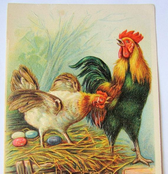 Antique Easter postcard embossed chickens by GatheringSplendor