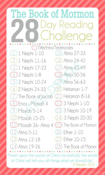 28 Day Book of Mormon Challenge. Take the Challenge! Free bookmark from Little LDS Ideas