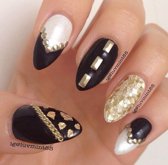 13 best nails images on pinterest nails design black nails and pointed black gold and white design nails prinsesfo Choice Image