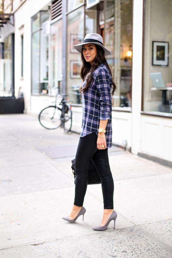 Denim + Plaid - Equipment blouse // Paige jeans Jean Michel Cazabat heels // YSL bag Maison Michel hat // Michael Kors watch Friday, October 16, 2015