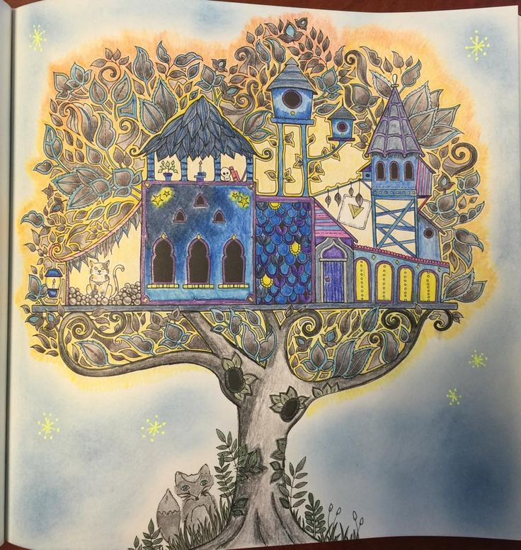 Coloring Johanna Basford Tree House Enchanted Forest TreehouseColoring BooksAdult
