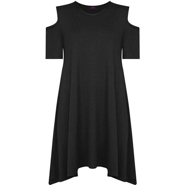 Cold Shoulder Swing Dress in Black (£5) ❤ liked on Polyvore featuring dresses, open shoulder dress, cut-out shoulder dresses, cut out shoulder dress, cold shoulder dress and trapeze dress
