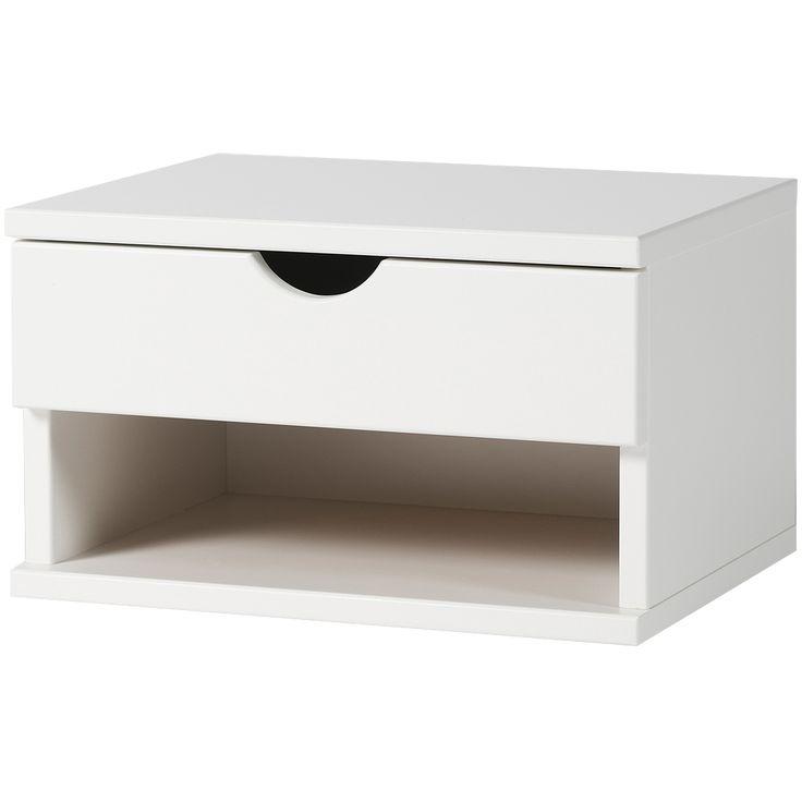 Modernt sängbord med minimalistiskt uttryck, Wally Sängbord Vägghängt i vitlack, Zebra Collection.