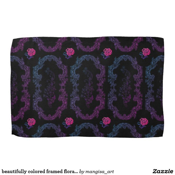 beautifully colored framed floral kitchen towel