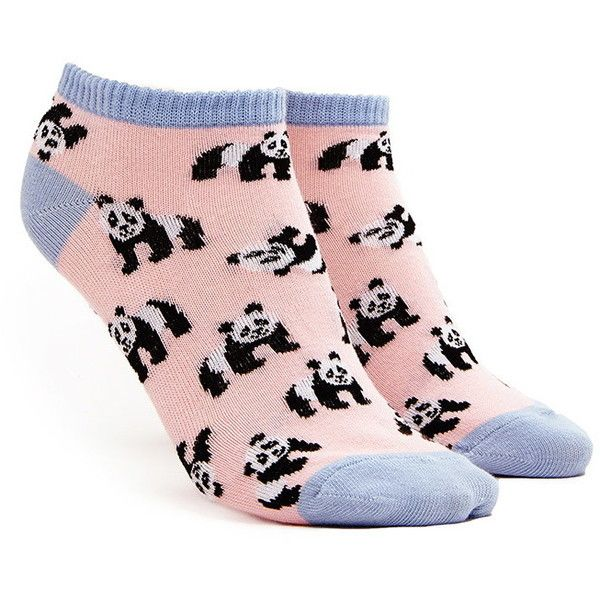 panda-patterned ankle socks ❤ liked on Polyvore featuring intimates, hosiery, socks, tennis socks, short socks, patterned socks, ankle socks and patterned hosiery