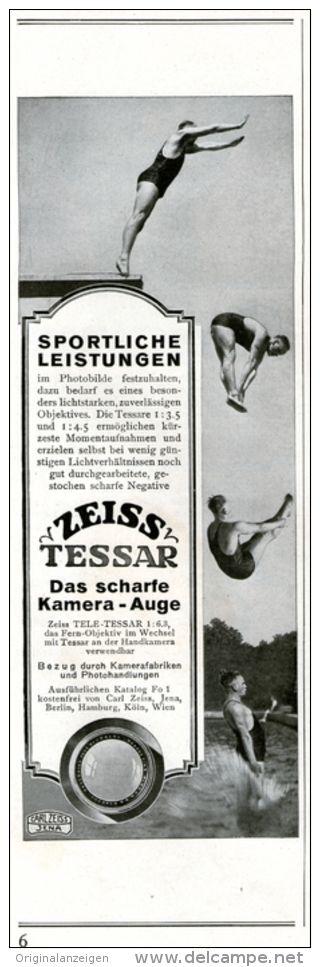 Original-Werbung/ Anzeige 1928 -  ZEISS TESSAR- MOTIV TURMSPRINGEN / RÜCKSEITE ZEISS KAMERAS - ca. 65 x  220 mm