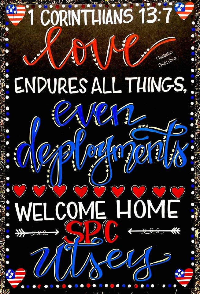 Military homecoming sign / Deployment Sign / Welcome Home / Armed Forces / Navy / Army / Marines / Air Force / Chalkboard / www.facebook.com/charlestonchalkchick for more pics and inquiries / charlestonchalkchick@gmail.com