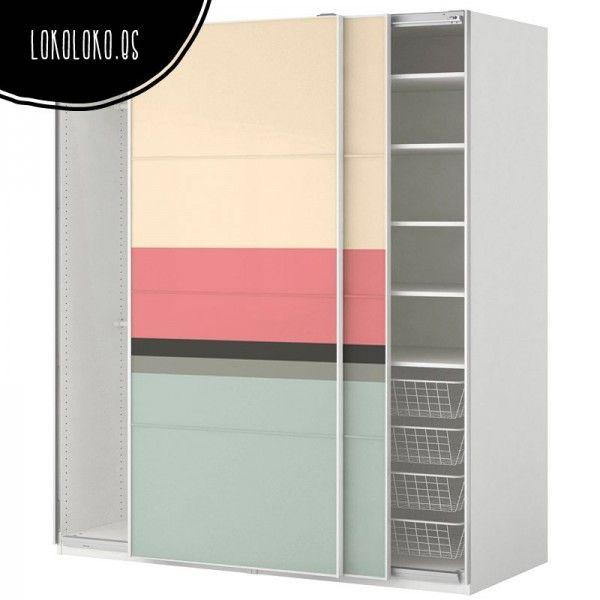 Decoración de puertas de armario con vinilo adhesivo de paleta de colores pasteles