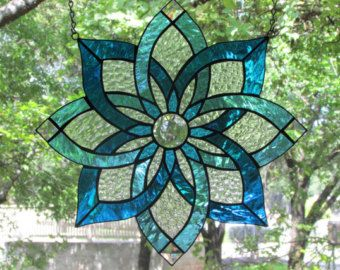 Rustic free-hanging stained glass panel of a by EmanyHandmadeGifts