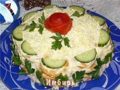 Салат - торт из крекеров : Простые рецепты для вкусной жизни