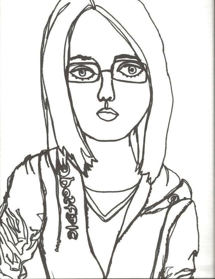 Continuous Contour Line Drawing Self Portrait Sketch ...