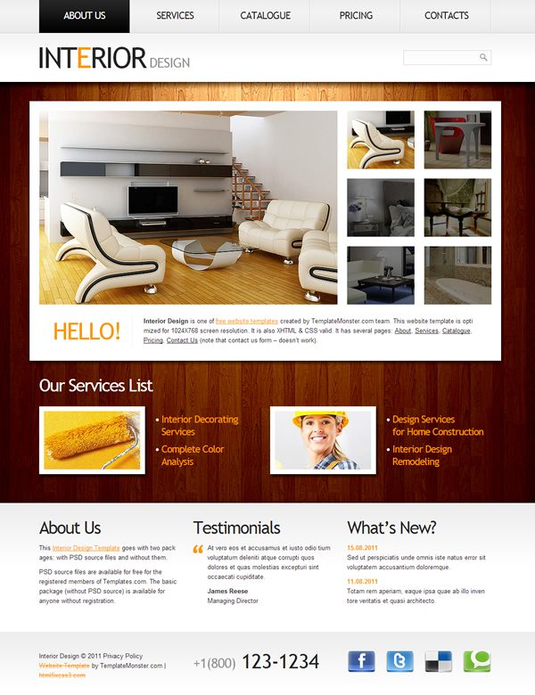 Interior Design Has XHTML CSS Valid It Several Pages About Services Catalogue Pricing Contact Us Note That Form Doesnt W