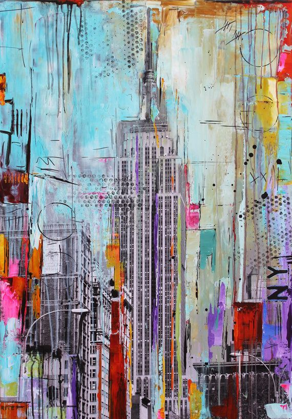 original painting pop art abstract painting new york acrylic painting from jolina anthony fast and free shipping on Etsy, $499.00