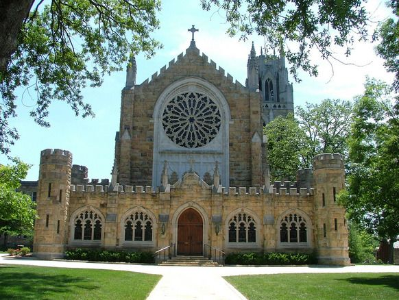 Shapard Tower is located on the south side of the All Saints Chapel on University Ave on the campus of the University of the South in Sewanee, Tennessee. Beautiful stained glass.