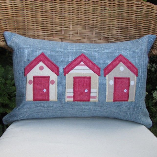 Beach huts cushion - Rectangular, blue with pink, cream and beige huts £12.00