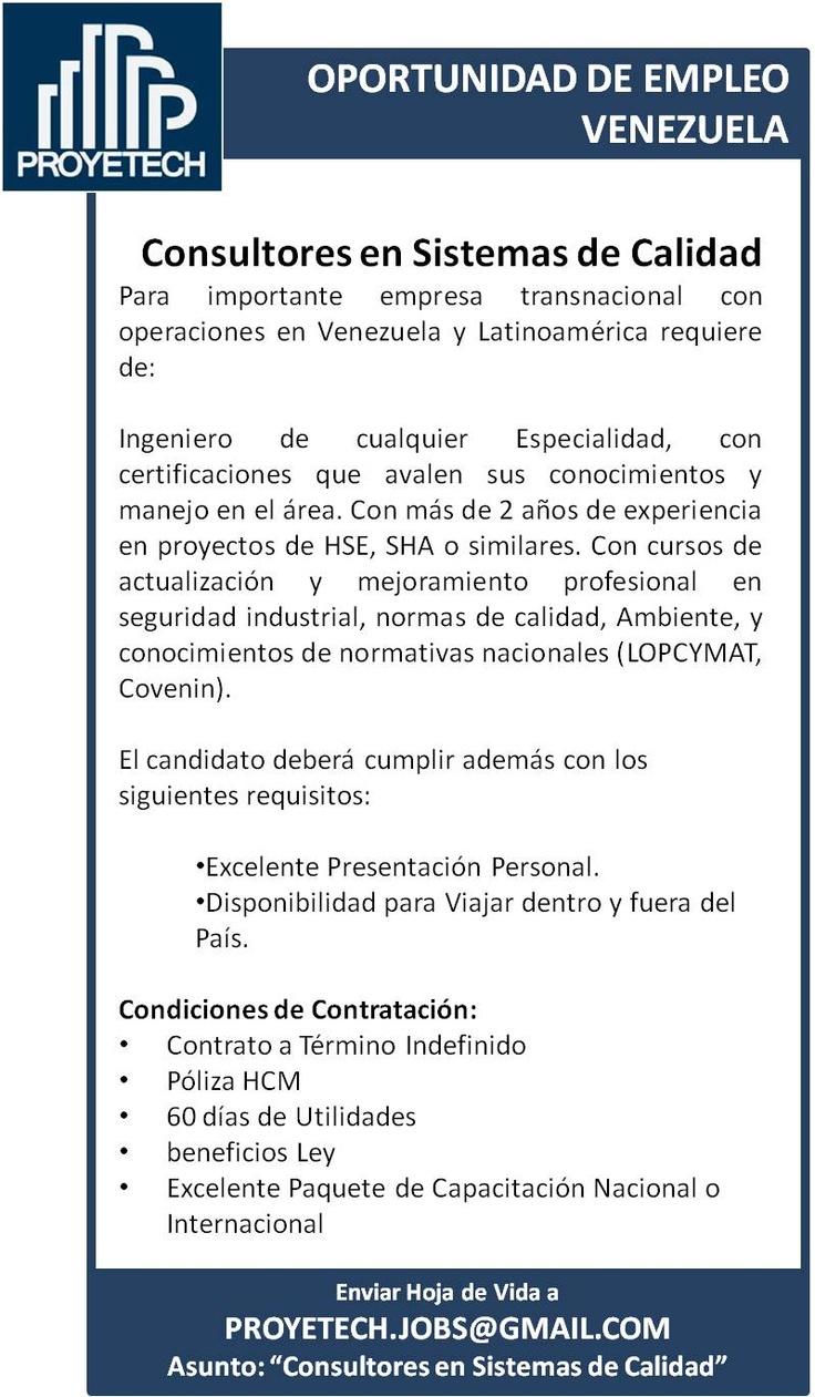 BUSCAMOS CONSULTORES DE SISTEMAS DE CALIDAD #Valencia #Venezuela #Empleo #ISO9000 @proyetech