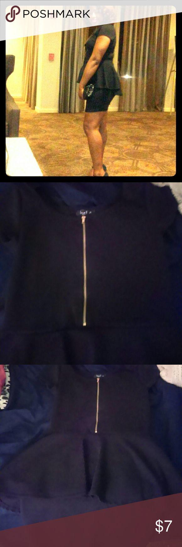 Black Peplum dress Gold zipper detail in the front, and Peplum black dress Rainbow Dresses Midi