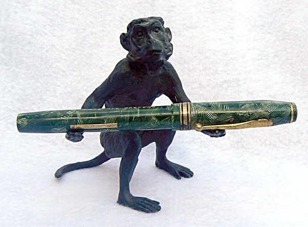 Rare Vintage Bronze Levenger Monkey Pen Holder
