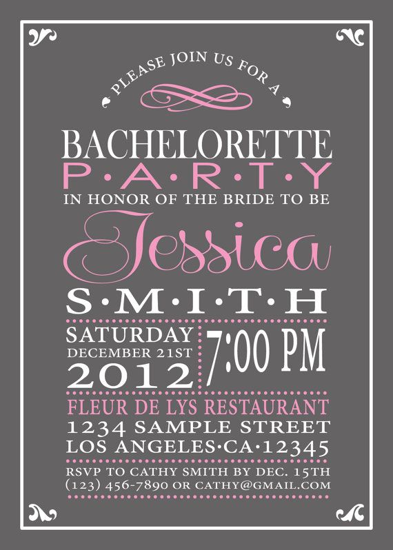 Bachelorette Party Invitation Hen's Night by CreativeStarDesigns, colours can be changed