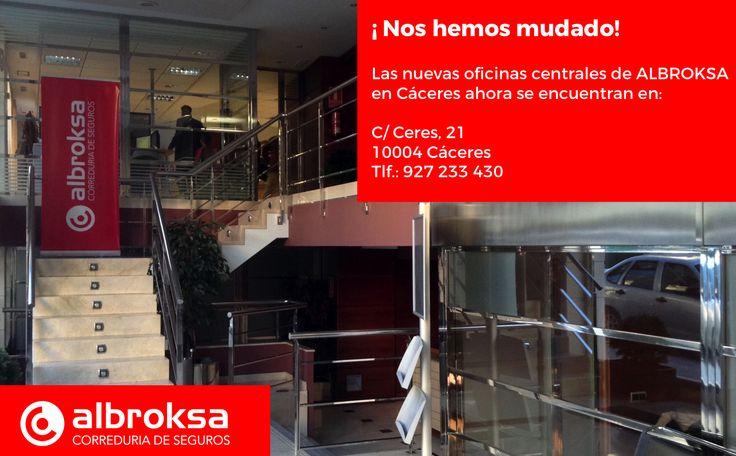 ¡Nos hemos mudado! A partir de ahora nuestras oficinas centrales se encuentran en la C/ Ceres, 21 - 10004 Cáceres. Tlf.: 927 233 430 #Albroksa #CorreduriaDeSeguros #FranquiciaDeSeguros
