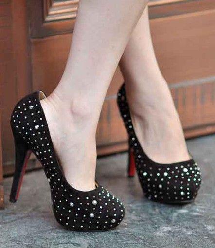 #High Heel #High Heel Rhinestone Embellished Pure Color Pump Black http://www.clothing-dropship.com/high-heel-rhinestone-embellished-pure-color-pump-black-g1466733.html